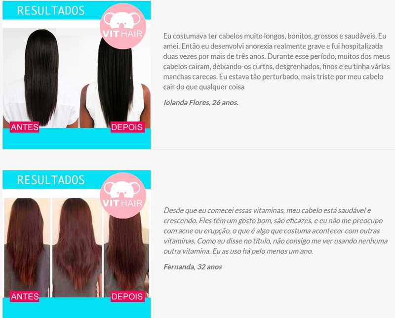 Antes e depois Vit Hair